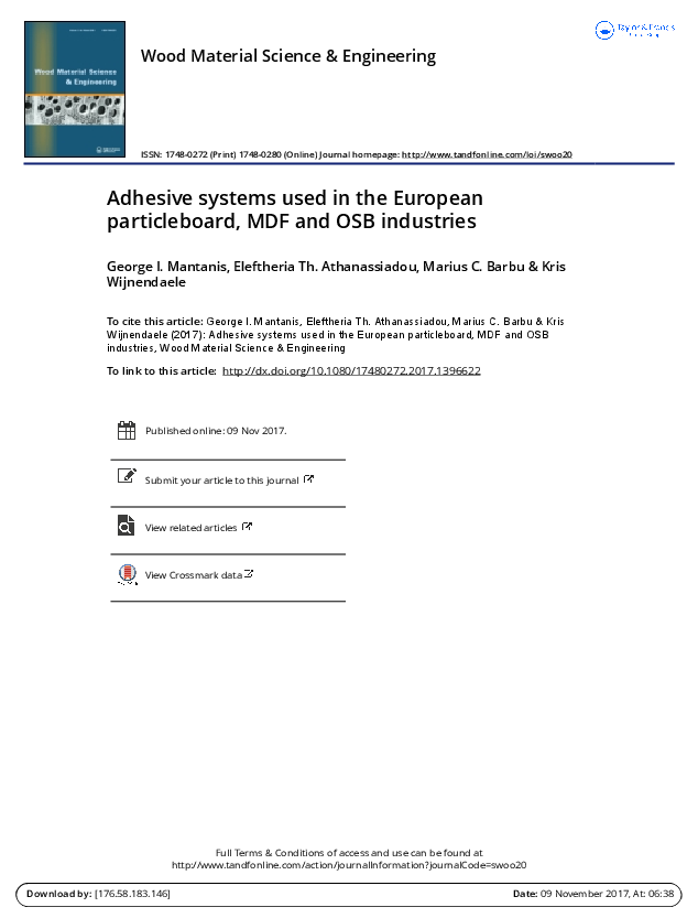 PDF Adhesive Systems Used In The European Particleboard MDF And