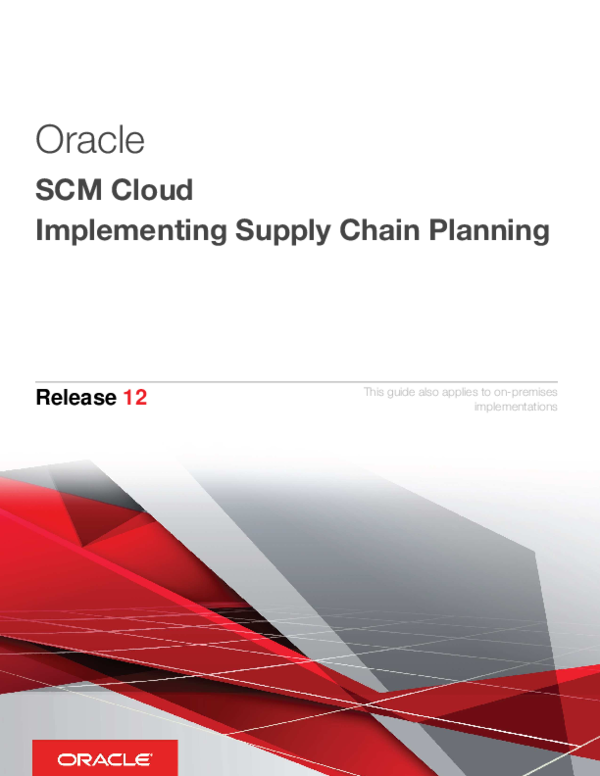 PDF) Oracle SCM Cloud Implementing Supply Chain Planning