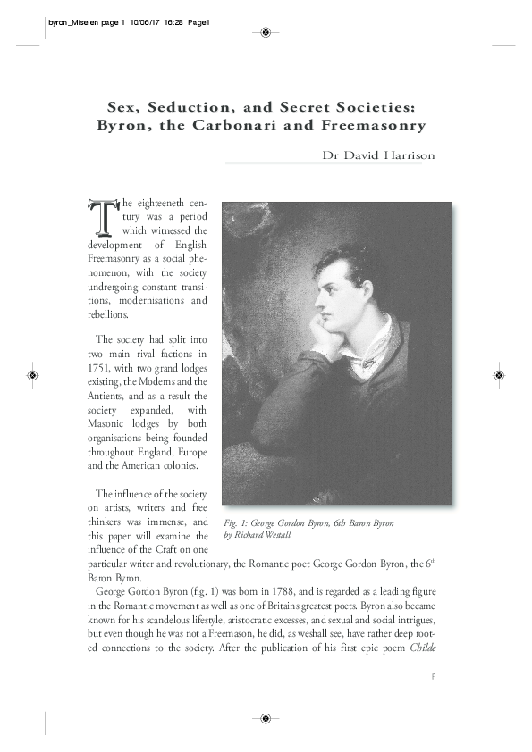 PDF) 'Sex, Seduction, and Secret Societies: Byron, the