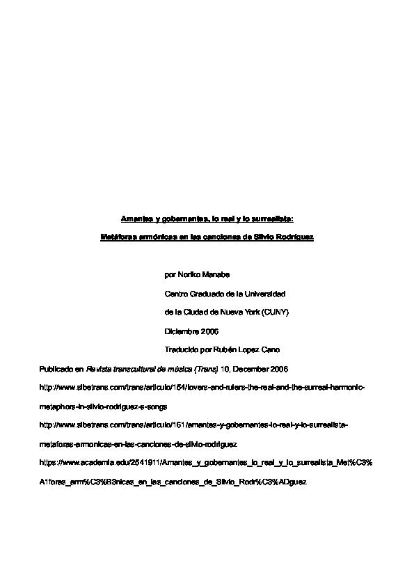 Pdf Amantes Y Gobernantes Lo Real Y Lo Surrealista Metáforas Armónicas En Las Canciones De Silvio Rodríguez Noriko Manabe Academia Edu