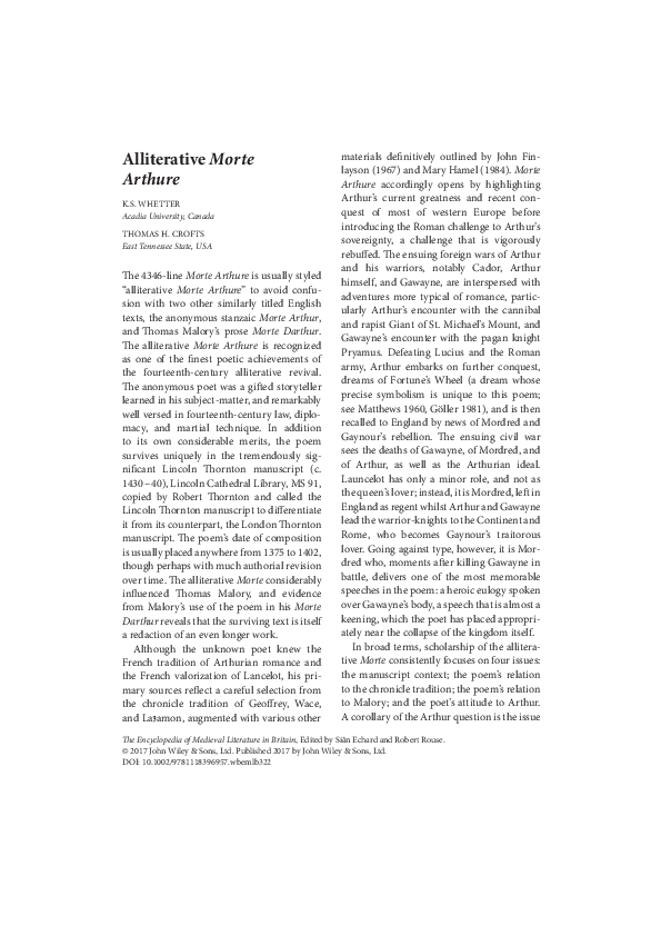 The Alliterative Morte Arthure: A Reassessment of the Poem