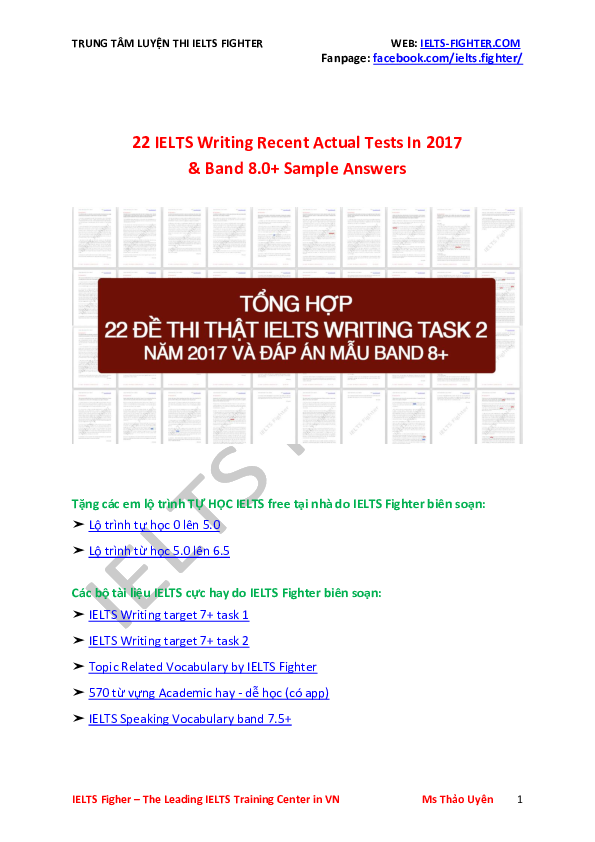 PDF) IELTS writing samples from IELTS Fighter Centre | Lê