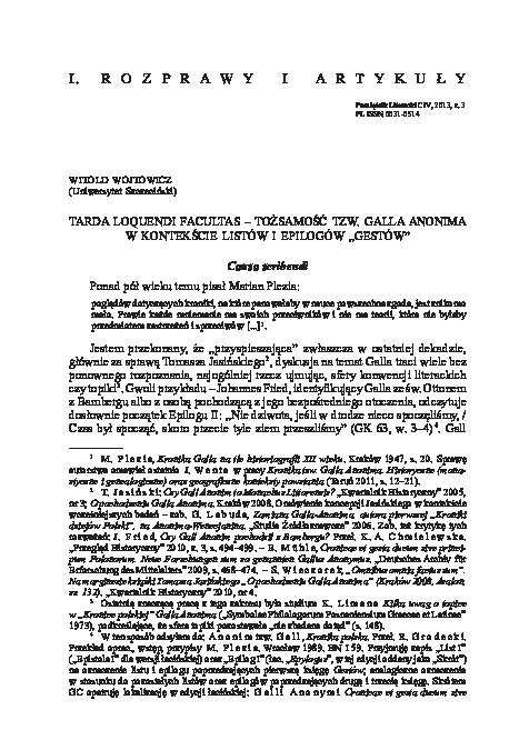 Pdf Tarda Loquendi Facultas Tożsamość Tzw Galla Anonima
