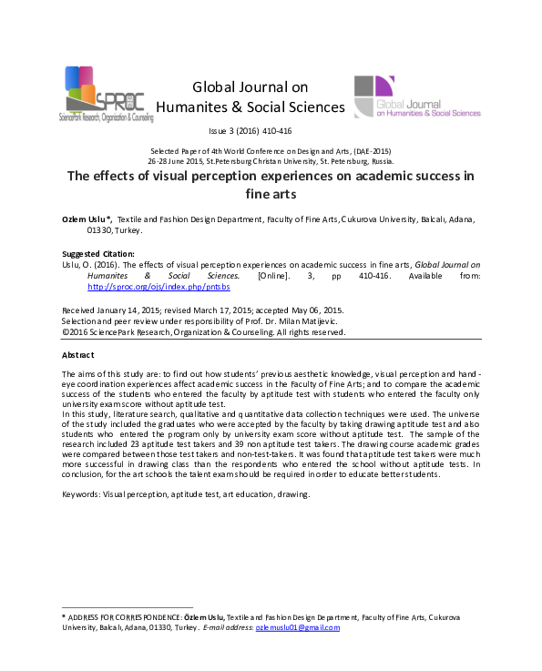 Pdf The Effects Of Visual Perception Experiences On Academic Success In Fine Arts Science Park Research Organization Counselling Academia Edu