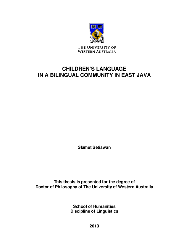 PDF Children s Language in a Bilingual munity in East