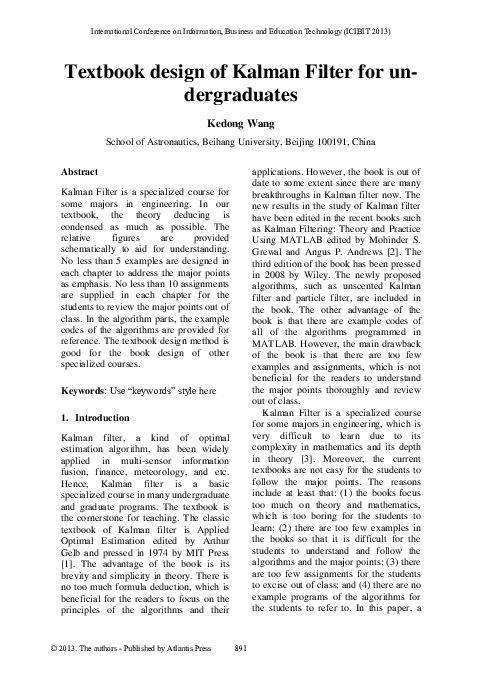 PDF) Textbook design of Kalman Filter for undergraduates