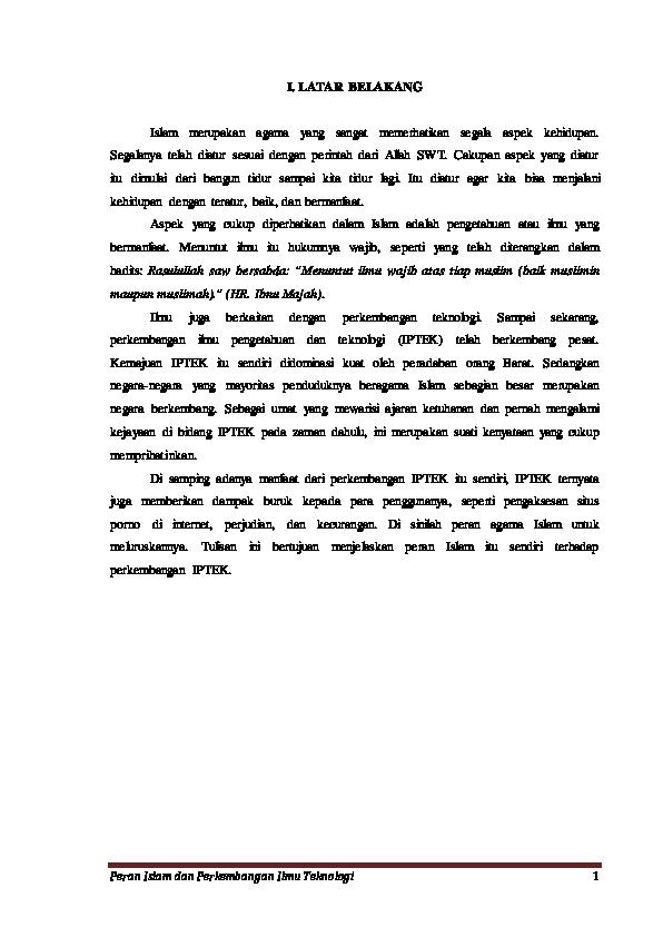 Pdf Islam Dan Iptek R Al Harun Academia Edu