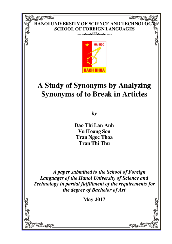 Doc A Study Of Synonyms By Analyzing Synonyms Of To Break In Articles Gấm Nguyễn Academia Edu