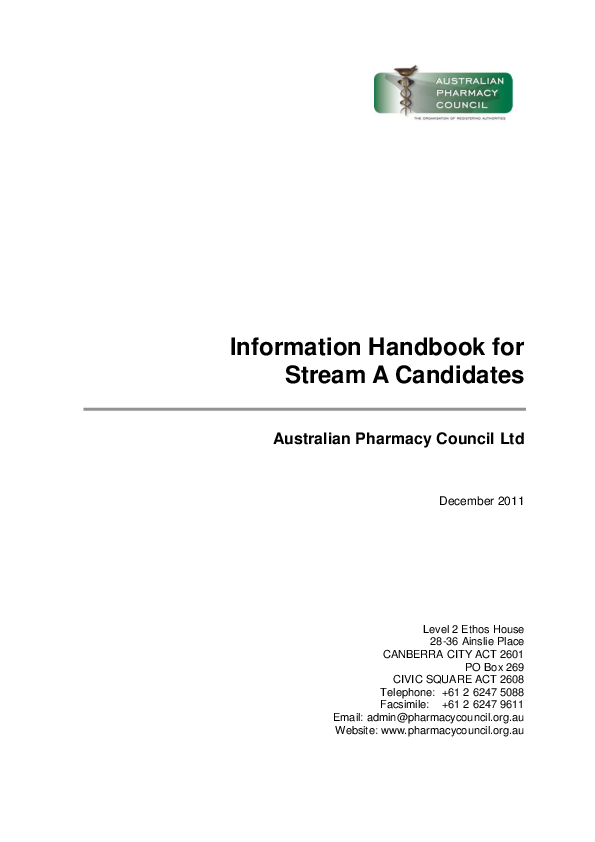 PDF) Information Handbook for Stream A Candidates | george