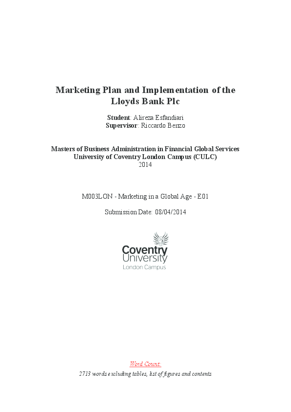 PDF) Marketing Plan and Implementation of the Lloyds Bank Plc