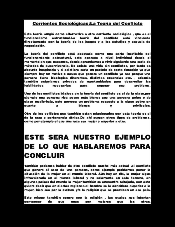 Doc Corrientes Sociológicas La Teoría Del Conflicto Saul