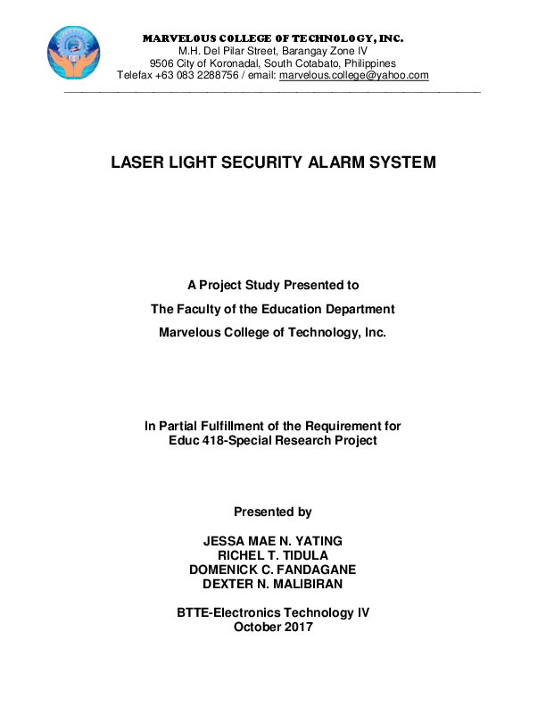 DOC) LASER LIGHT SECURITY ALARM SYSTEM A Project Study Presented to