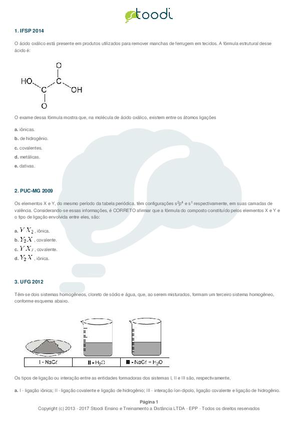PDF) Ligaçoes quimicas | Matheus Martins - Academia edu
