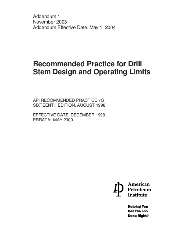 PDF) Recommended Practice for Drill Stem Design and Operating Limits