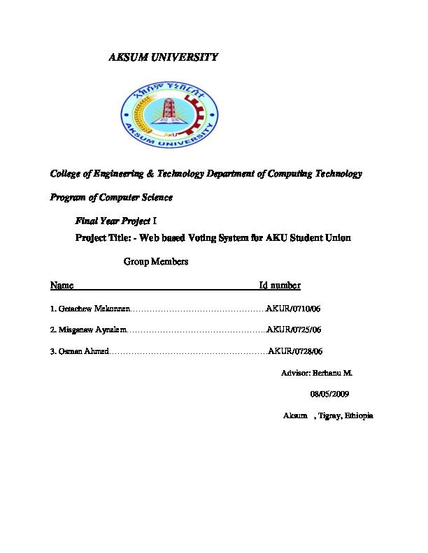 PDF) Title: -Web based Voting System for Student Union | wonde