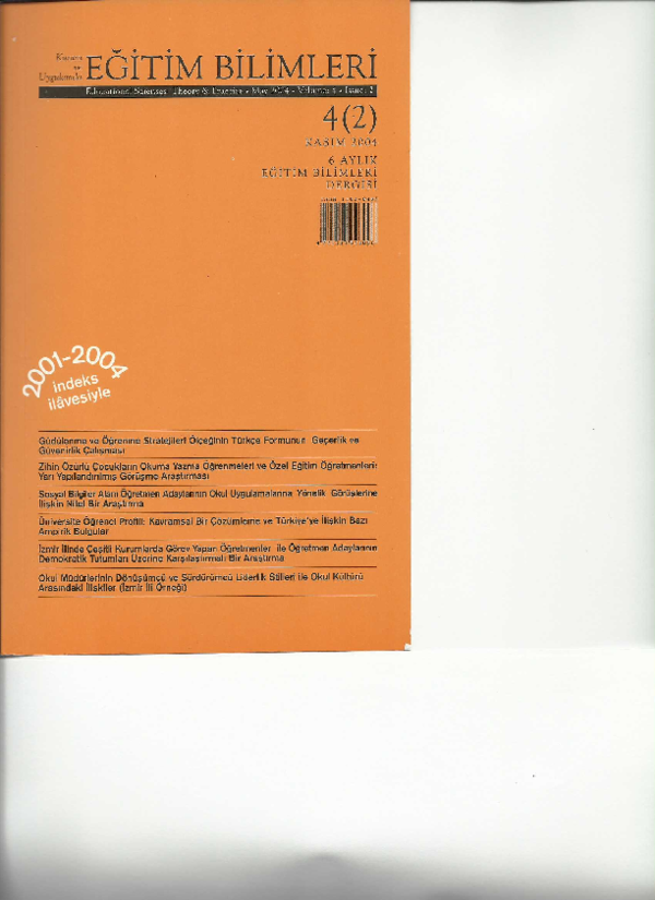 Pdf The Validity And Reliability Study Of The Turkish Version Of