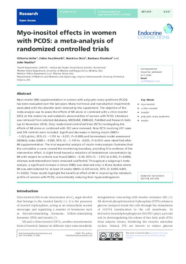 PDF) Myo-inositol effects in women with PCOS: a meta