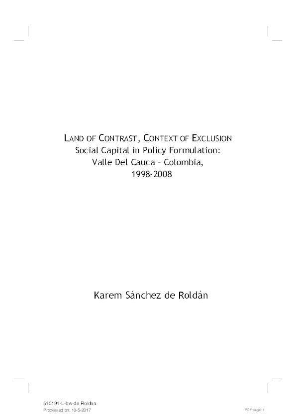 Pdf Land Of Contrast Context Of Exclusion Social Capital