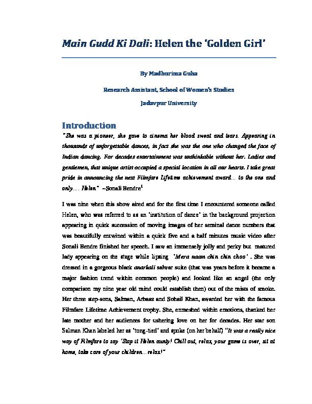 PDF) Main Gudd Ki Dali: Helen the 'Golden Girl' | Madhurima