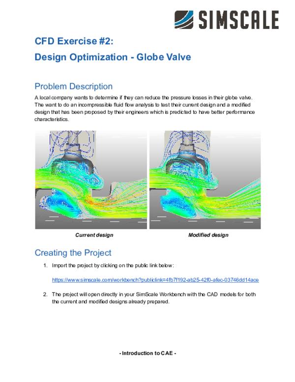 PDF) CFD Exercise #2: Design Optimization Globe Valve