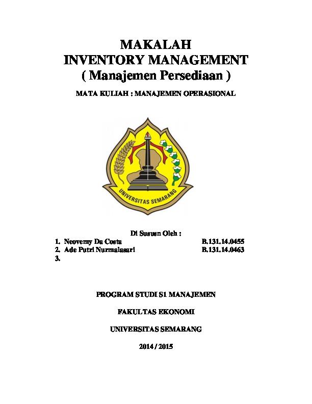 Doc Makalah Inventory Management Manajemen Persediaan Neovemy Da Costa Academia Edu