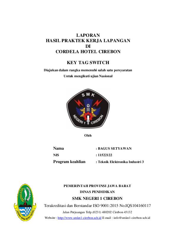 Doc Laporan Hasil Praktek Kerja Lapangan Di Cordela Hotel Cirebon Key Tag Switch Abdul Azis Academia Edu