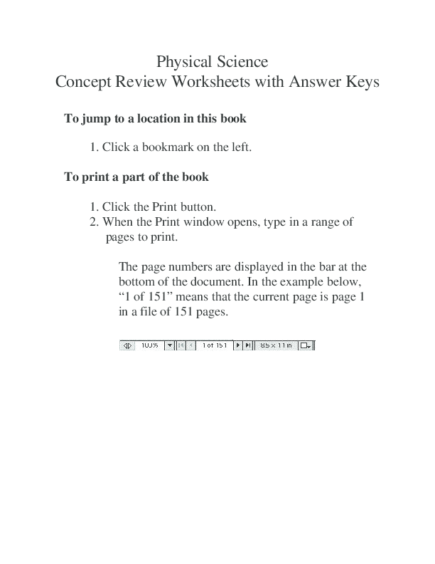 Physical Science Concept Review Worksheets With Answer Keys Jesvin