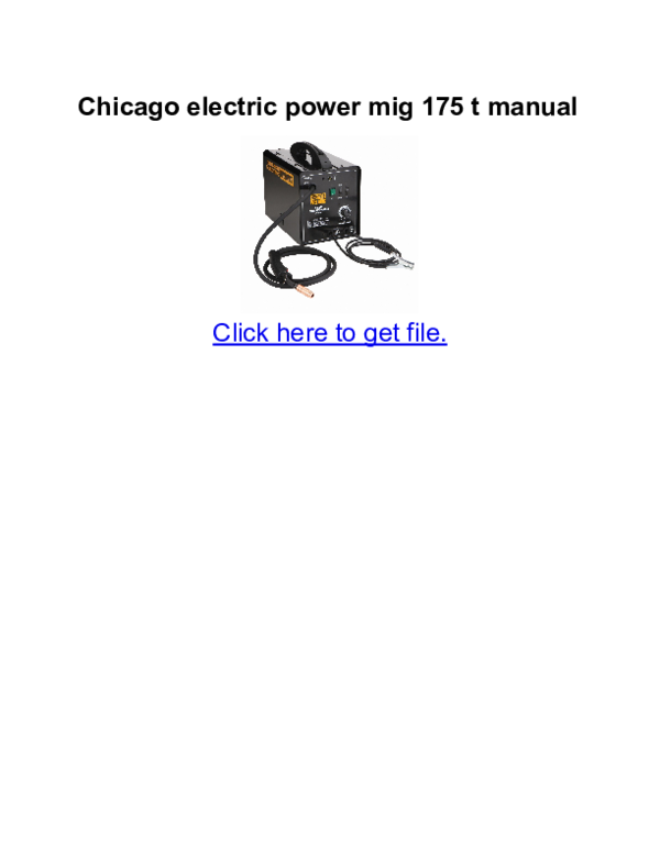 PDF) Chicago electric power mig 175 t manual | efra tito