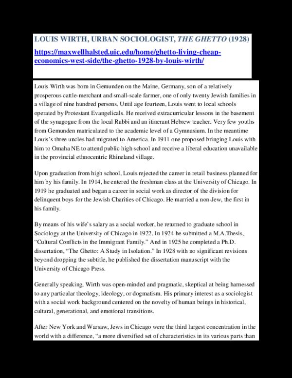 PDF) LOUIS WIRTH URBAN SOCIOLOGIST pdf | Burton Bledstein
