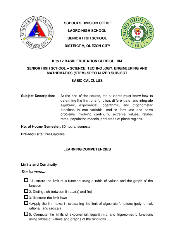 DOC) BASIC-CALCULUS (LEARNING COMPETENCIES) docx   DAN