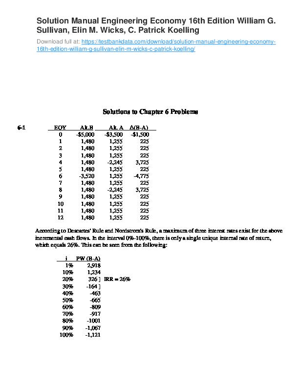 Pdf  Solution Manual Engineering Economy 16th Edition