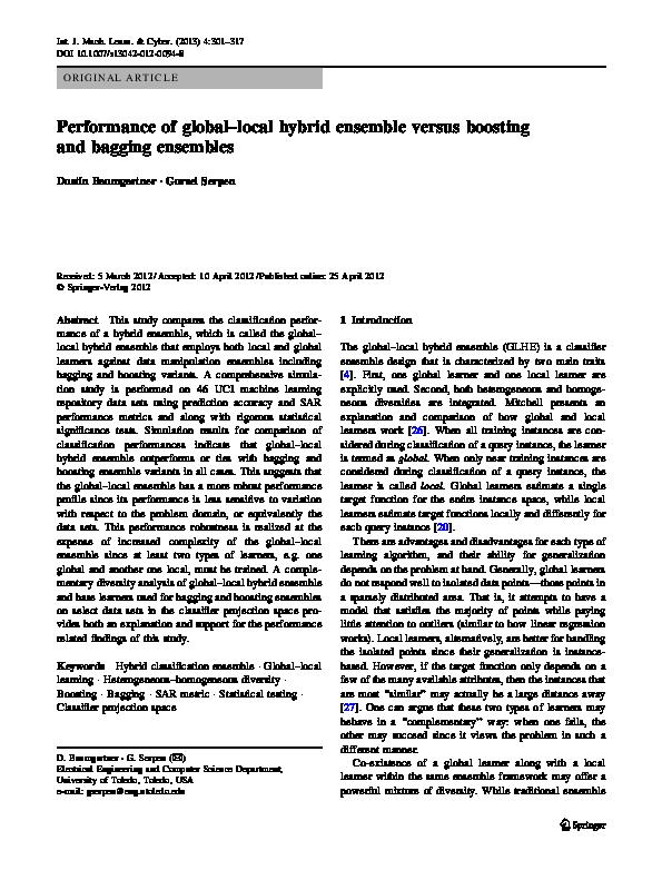 PDF) Performance of global–local hybrid ensemble versus