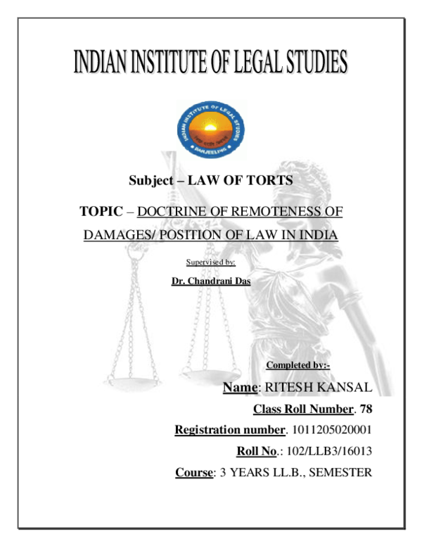 (DOC) Subject – LAW OF TORTS TOPIC