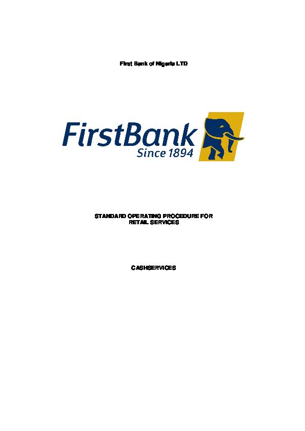 PDF) First Bank of Nigeria LTD STANDARD OPERATING PROCEDURE