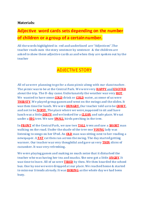 short story with adjectives for grade 1