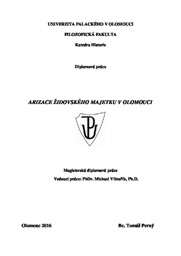 PDF) UNIVERZITA PALACKÉHO V OLOMOUCI ARIZACE ŽIDOVSKÉHO MAJETKU V ... 9f36c5845d3