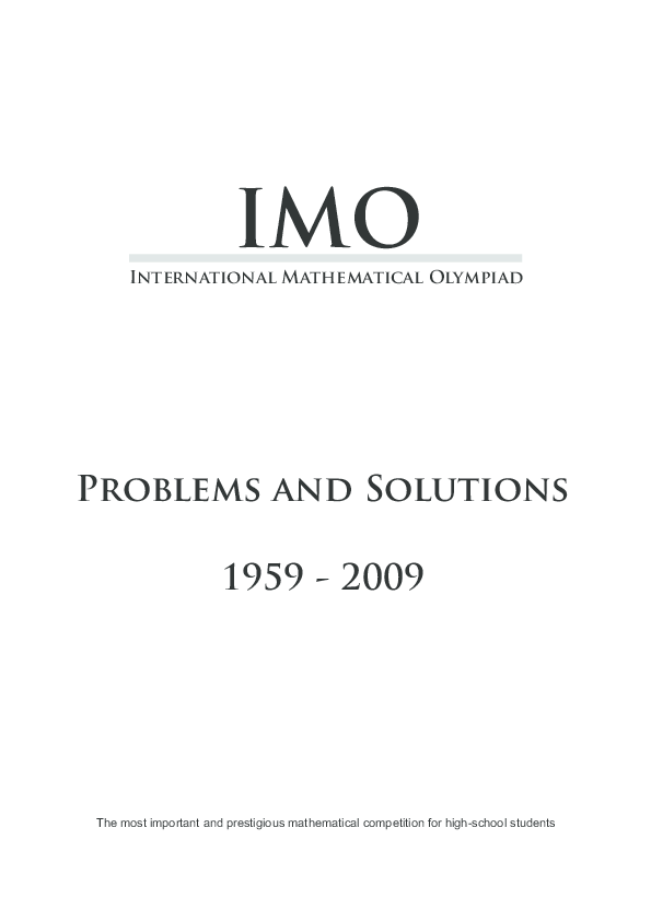 PDF) International Mathematical Olympiad Problems and Solutions IMO