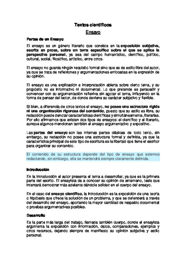 Doc Textos Científicos Ensayo Partes De Un Ensayo Arturo