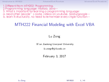 PDF) Introduction to MTH222 Advanced Excel Functions