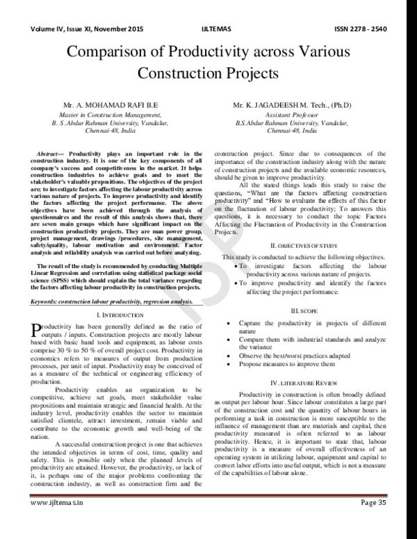 PDF) Comparison of Productivity across Various Construction Projects