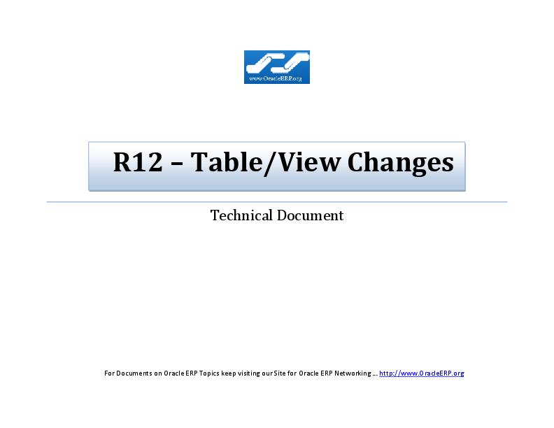 PDF) R12 – Table/View Changes | Jagadish N - Academia edu
