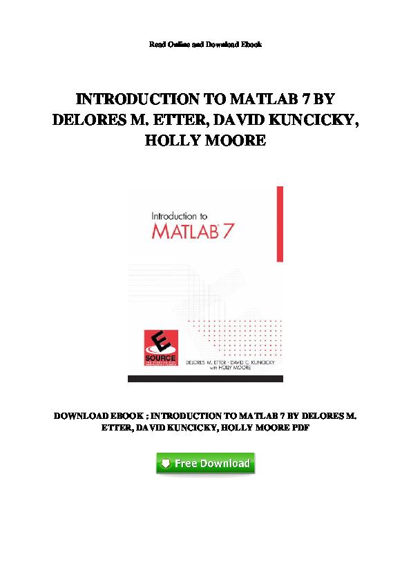 PDF) INTRODUCTION TO MATLAB 7 BY   Rabia Ali - Academia edu