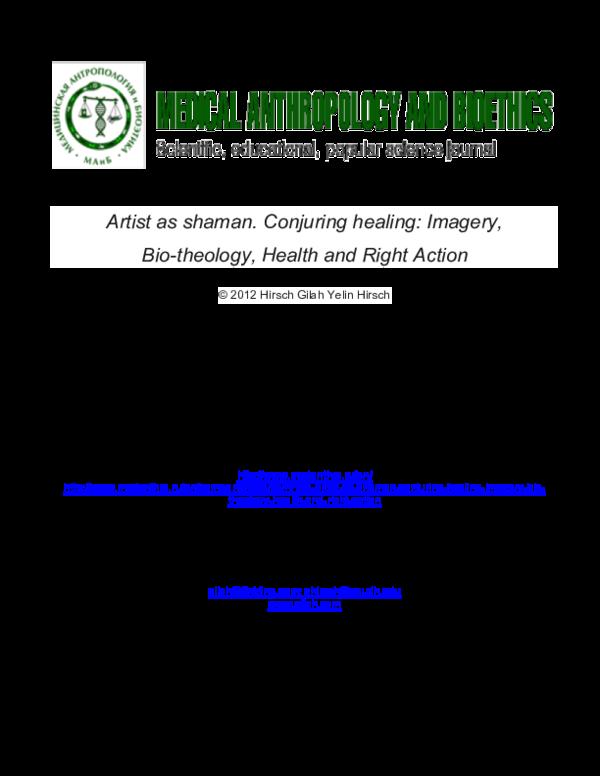 PDF) Artist as shaman  Conjuring healing: Imagery, Bio