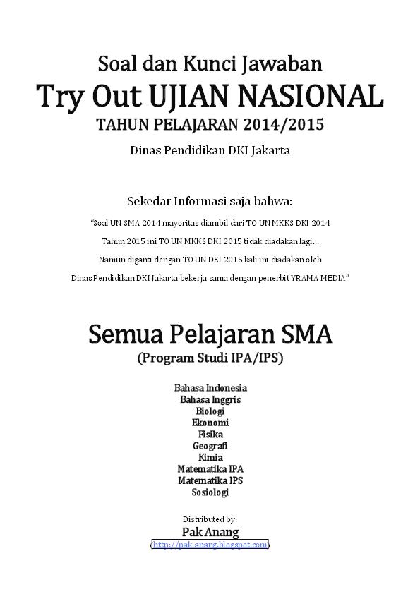 Pdf Naskah Soal Dan Kunci Jawaban To Un Dki 2015 By Pak Anang Blogspot Com Farid Prastiyanto Academia Edu