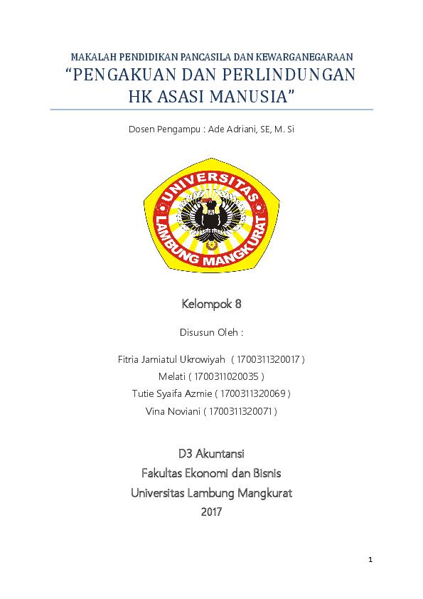 Doc Makalah Pendidikan Pancasila Dan Kewarganegaraan Tutie Syaifa Azmie Academia Edu