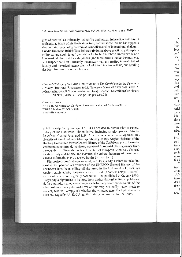 PDF) Bridget Brereton (ed ), General history of the