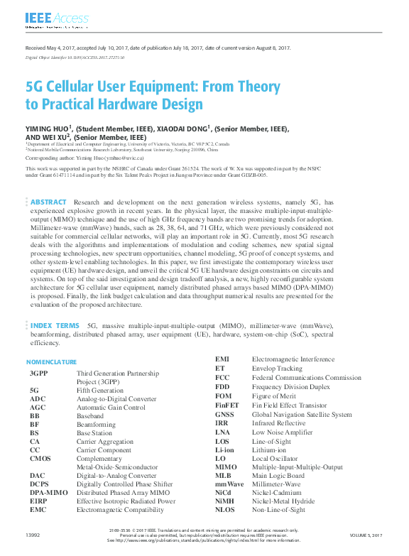 PDF) 5G Cellular User Equipment: From Theory to Practical