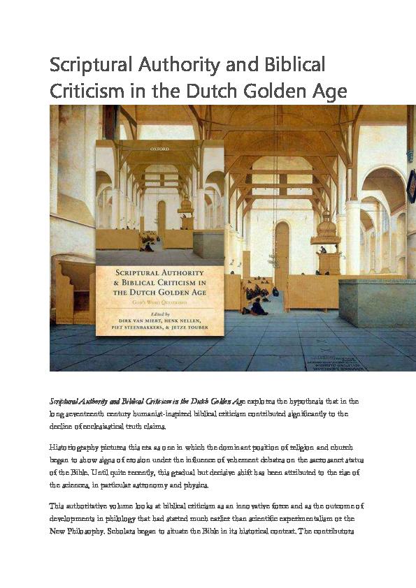 PDF) D  van Miert et al , eds, Scriptural Authority and