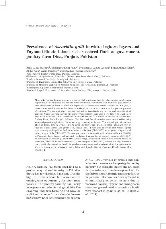PDF) Prevalence of Ascaridia galli in white leghorn layers
