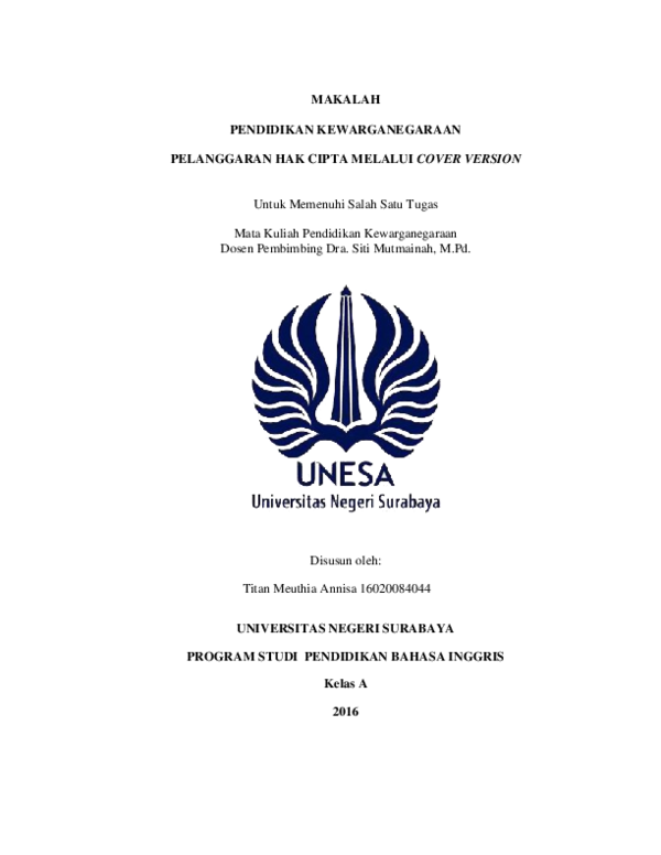 Doc Pelanggaran Hak Cipta Melalui Cover Version Docx Titan Meuthia Academia Edu